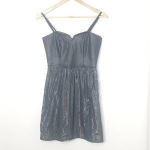 Hurley | Black Faux Leather Sweetheart Mini Dress